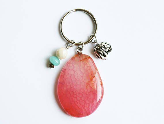 Roze Agaat stenen sleutelhanger - Olifant Charm - Boho kralen - Dragons ader Agate - Yoga Gift - Boheemse zomer accessoires