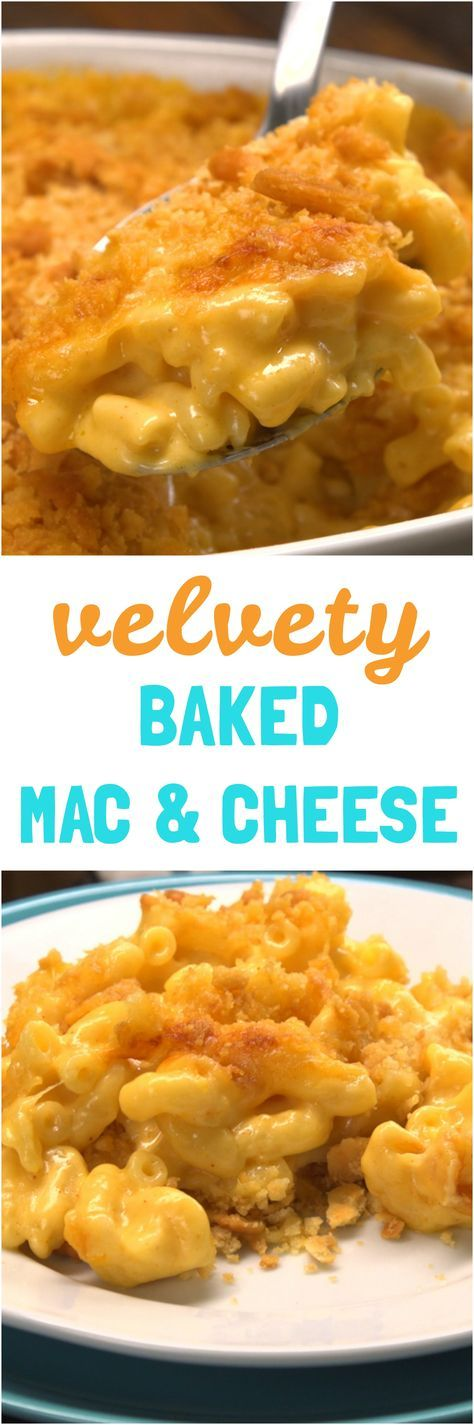 This baked macaroni and cheese recipe is the real deal: creamy, velvety, gooey macaroni and cheese baked in the oven with a buttery cracker crust just like mom used to make it.