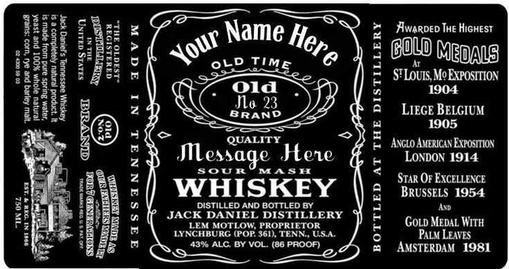 Jack Daniels Label Personalised Name & Age Edible Icing Cake Topper **PreCut**
