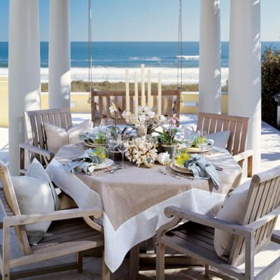 wouldnt this be nice!: Tables Sets, Beaches House Decor, Newport Beaches, Beaches Inspiration, Coastal Style, Coastal Living, Ocean View, The Beaches, Beaches Cottages