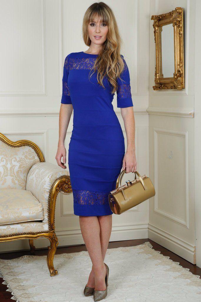Shelby Royal Blue Lace Insert Midi Dress