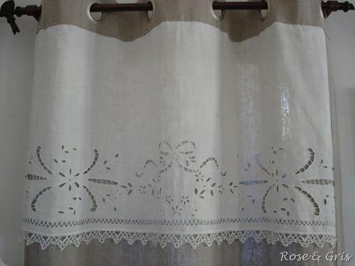 tête de rideau tissu ancien récup
