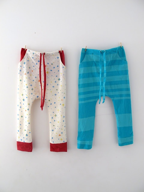 Baby lounge pants refashioned from an adult-size t-shirt. Cozy. From Cirque du Bebe. #sewing