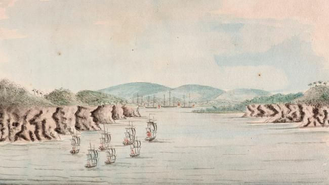 A drawing of the First Fleet's arrival at Port Jackson, by naval officer William Bradley.