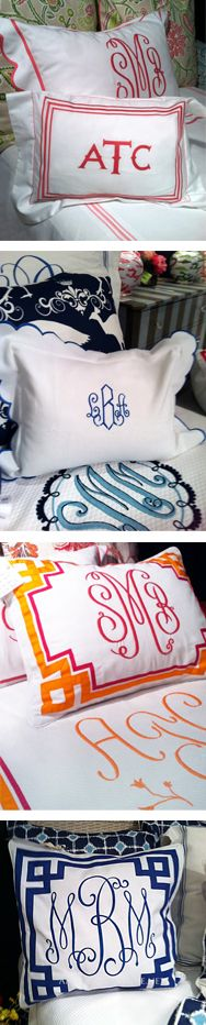 Luxurious Monogrammed Pillows. Euro Shams, Pillow Shams and Boudoir Pillows. Available with or without monograms. Over 100 color options to choose from. SHOP: http://www.andersonavenue.net/jane-wilner-monogram-bedding.html
