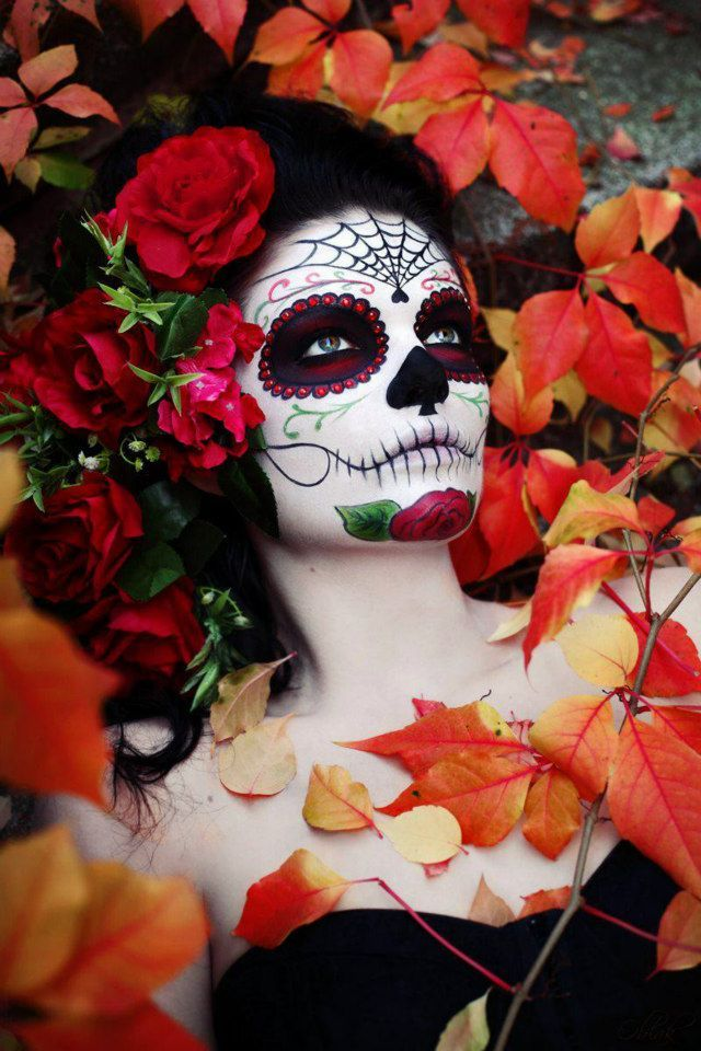 Artistic and detailed Dia De Los Muertos make-up with red crystal accents by Tena Bašić Makeup Artist.