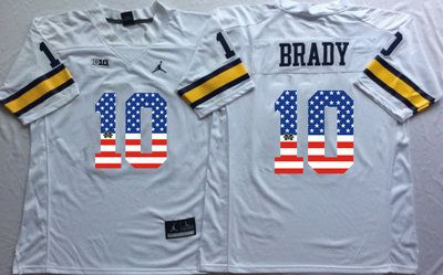 Michigan Wolverines 10 Tom Brady White USA Flag College Jersey