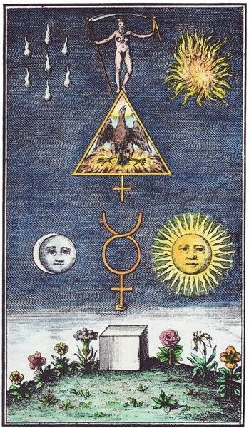 Vintage Occult Sun Moon Alchemy Art