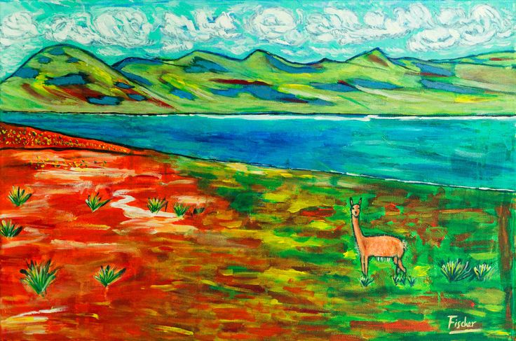 'Vicuna in Miscanti Lake', acrylic on canvas, 60x40cm, #art #painting #followart #canvas #Chile #altiplano #artist #colorful #fischerart