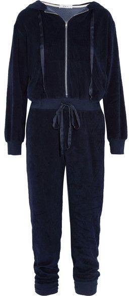 Clu Hooded Velour Jumpsuit - Navy
