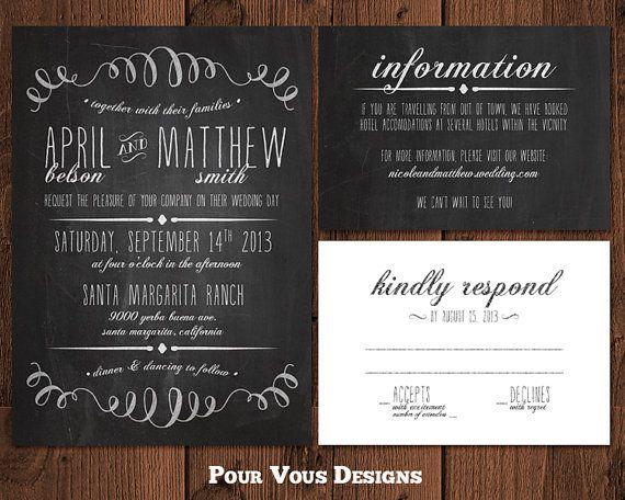 Chalkboard Wedding Invitation - Black & White - Printable via Etsy