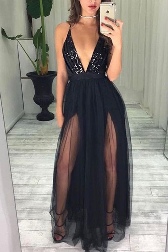 Black Deep V neckine Tulle A Line Prom Dress, Sexy Beaded Long Evening Dress