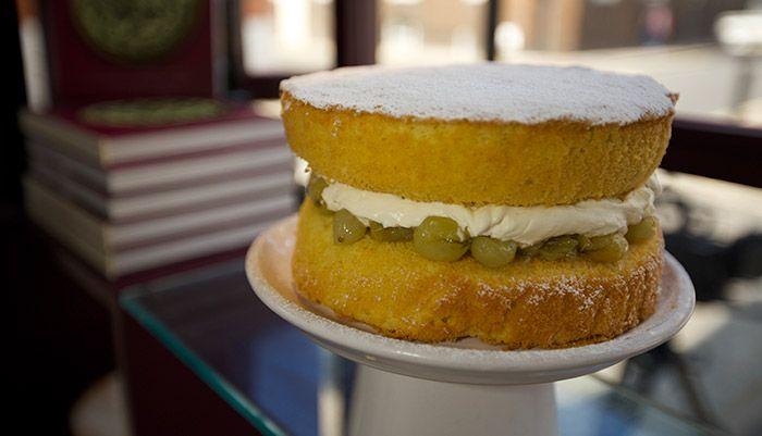 Victoria Sponge withGooseberry Jam http://gustotv.com/recipes/dessert/victoria-sponge-with-gooseberry-jam/