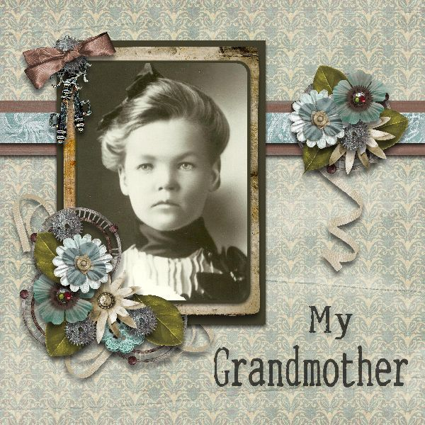 My Grandmother ~ lovely flower clusters highlight a beautiful vintage portrait.