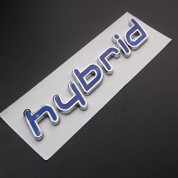 BBQ@FUKA 1pcs ABS Chrome Car Stickers Blue Hybrid Letters Emblem Decals Badge For Hyundai Sonata Accent Elantra Ix20 Ix35 I30