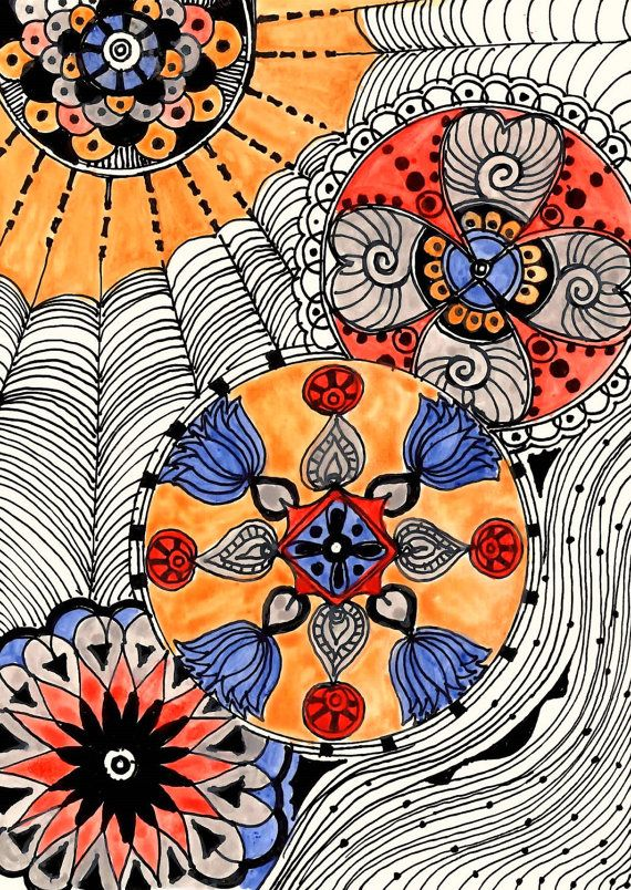 MODERN Fine Art Print Reproduction 5x7 black ink and by devikasart, $12.00