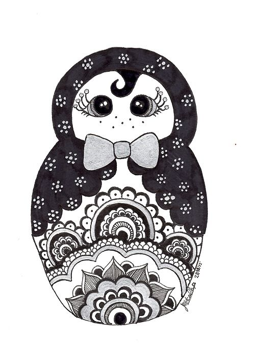 I found a silver pen and so, I thought I'd draw a silver/black Babushka doll for my ex-manager/friend :3  DA Facebook