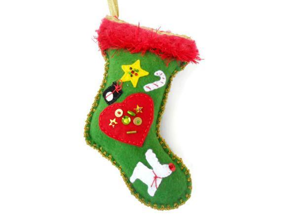 Ücretsiz Kargo - Yılbaşı Temalı Keçe Noel Çorabı Figürlü Yılbaşı süsü