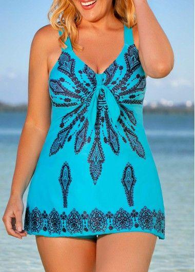 1b36453596 Plus Size Printed V Neck Swimdress and Shorts | liligal.com - USD $29.32