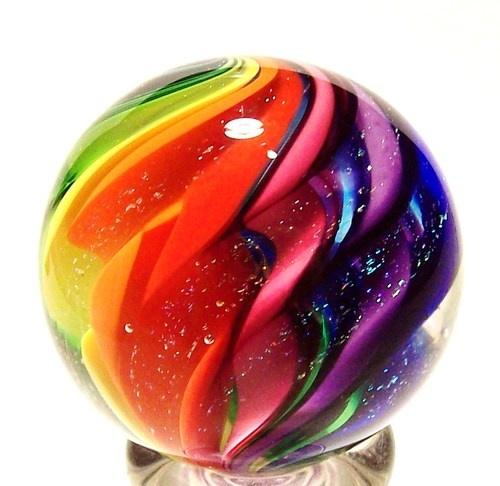 "EDDIE SEESE ART GLASS 1-1/2"" RAINBOW LOBED DICHROIC MARBLE"