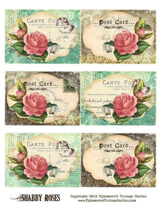 decorative printable tags - Ephemeras Vintage Garden: Free Printable - Shabby Rose Postcard Tags - Do It Darling