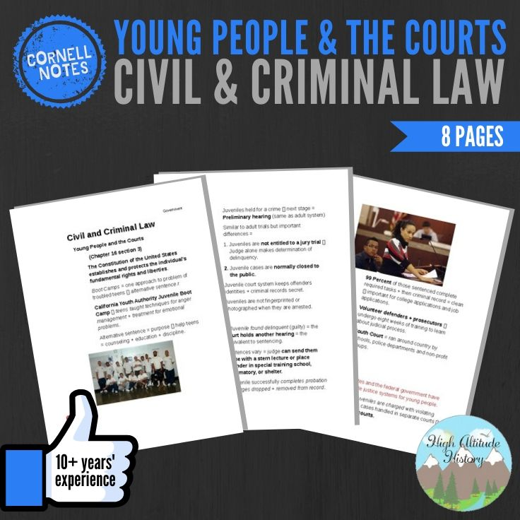 Cornell Notes Civil And Criminal Law Young People And The Courts Homeschool History Curriculum Cornell Notes Metacognition