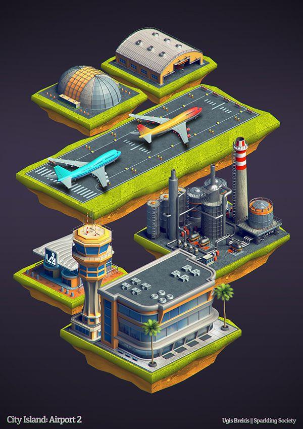 Isometric buildings: City Island Airport 2 on Behance