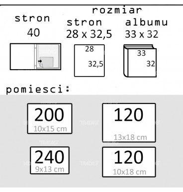 32x32 cm album z folią magnetyczną na 200 zdjęć 10x15 lub inne, różne formaty