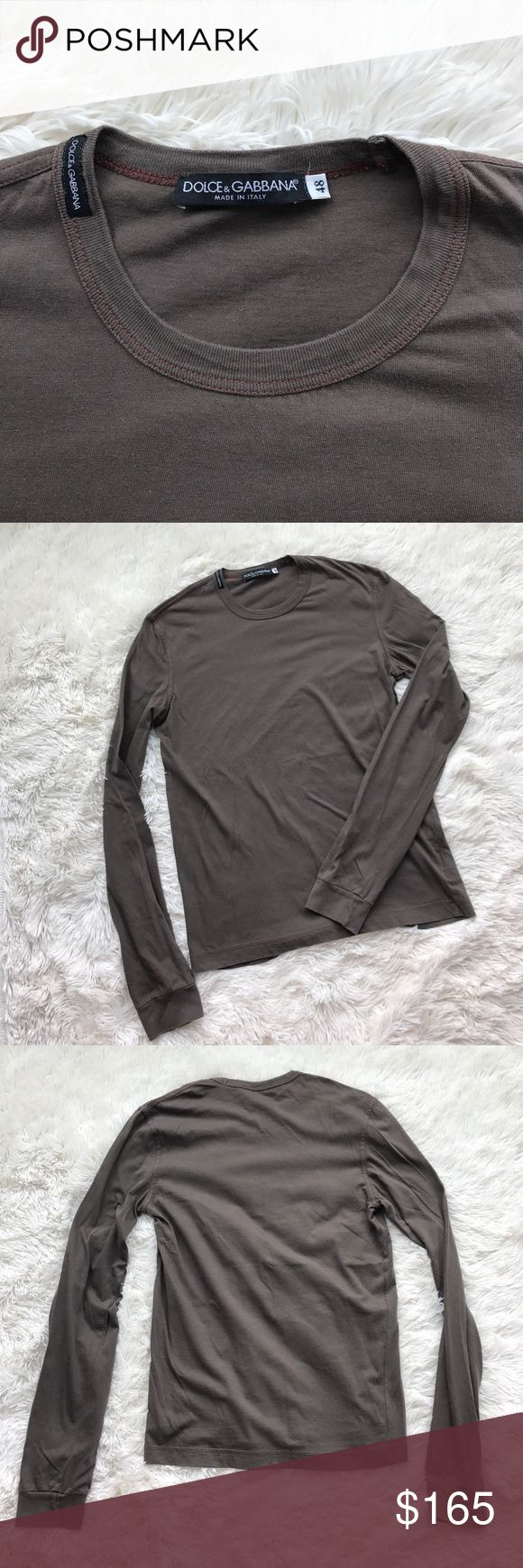 Dolce and Gabbana Shirt long sleeve olive green/brown t shirt with Dolce and Gabbana patch on neck. IT size 49, Men's US size M Dolce & Gabbana Shirts Tees - Long Sleeve