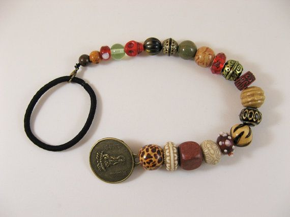 Jack Sparrow pirate style beaded ponytail holder with dragon Guanyin coin