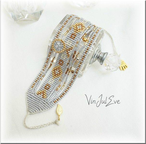 bracelet loom multi bandes gris or argent