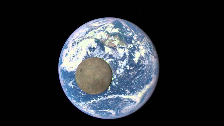Zwei Mal pro Jahr hat das Deep Space Climate Observatory die Gelegenheit zu filmen, wie sich der Mond zwischen den Beobachtungssatelliten und die Erde schiebt. Was wiederum uns ermöglicht, the Dark Side of the Moon zu sehen, die sich sonst aufgrund der Rotation des Mondes unseren Blicken entzieht