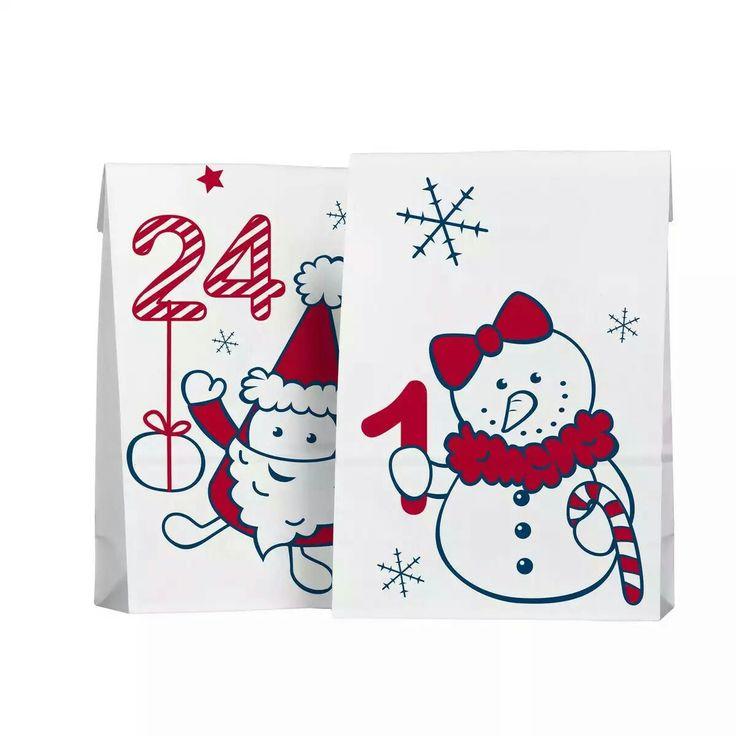 Kalenderposer nr. 1-24, av hvitt papir med ulike mønstre, nummererte 1-24. 12x7, høyde 20 cm. Pakke med 24 stk. Panduro 30 kr.