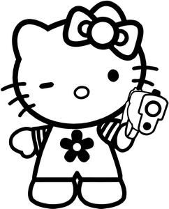 Hello Kitty Glock Gun Bad Gangster Decal Sticker