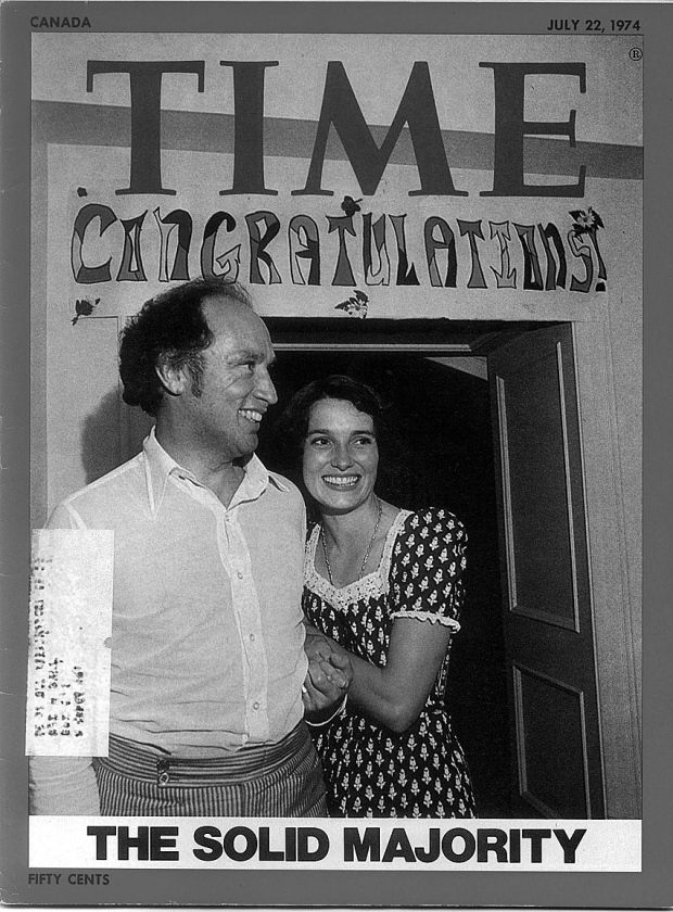 The cover of Time magazine in 1974 when Pierre Trudeau won his majority back. Photographer Lynn Ball of the Ottawa Citizen took the shot after knocking on the door of 24 Sussex that night. (Courtesy Lynn Ball) Puerre Trudea and his Wife Margaret.