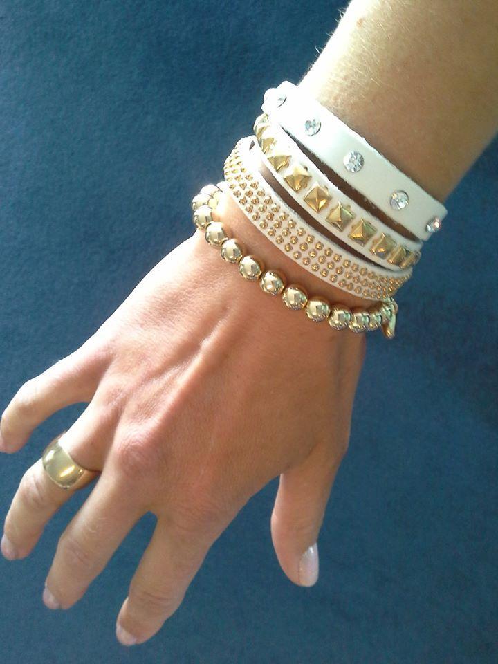 Stilen white cuff $35  - bead and heart bracelet $19