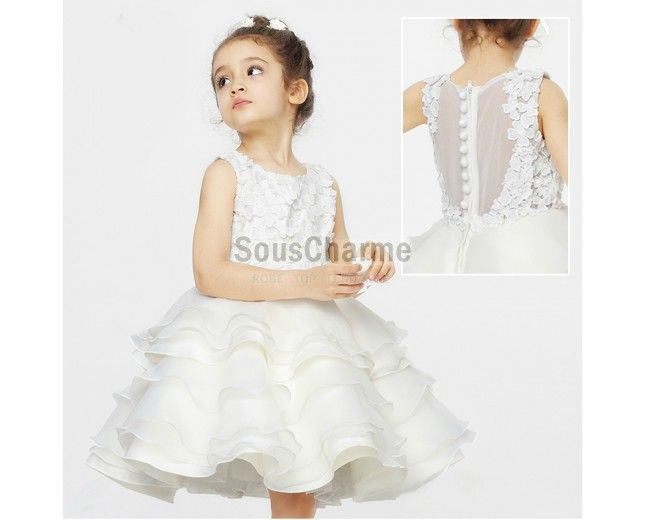 robe de bapteme robe cérémonie fille pour mariage pas cher en tulle blanche jupe superposée ornée de fleurs