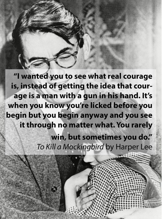 the instances of courage in to kill a mockingbird by harper lee Harper lee signed this in a first edition of to kill a mockingbird hawkins makes two appearances in to kill a mockingbird : when jem finch wins a bet and receives a copy of the gray ghost , and in the novel's closing pages, when atticus finch reads it to scout.