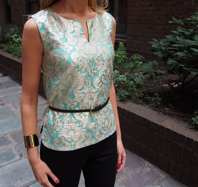 j. crew gold turquoise teal pale tunic sleeveless front slit brocade jacquard top gold cuff bracelet black skinny belt theory black cropped pants crops capris gold cap toe capped heels tom and colette silk pink magenta scarf essie nail polish