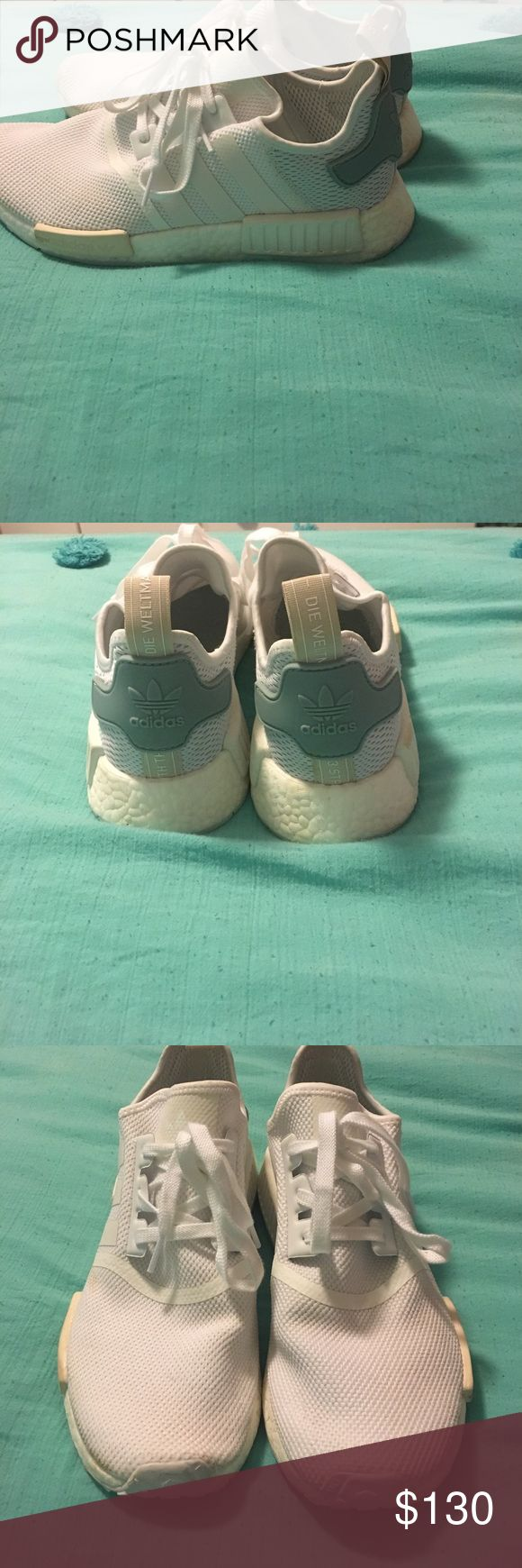 white womens adidas nmds Only worn once or twice. In really good condition!! Mostly white with  a little green/ blue in the back. Super comfortable and cute! I really like them but they are too big for me. If you make an offer I might accept Adidas Shoes Sneakers