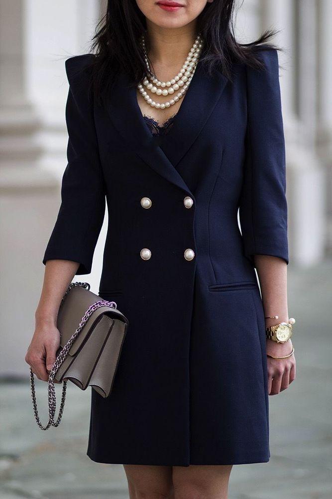 NWT  ZARA Navy Blazer Dress Jacket with Pearl Buttons Size M Ref.2895/230 #ZARA #Dress #Casual
