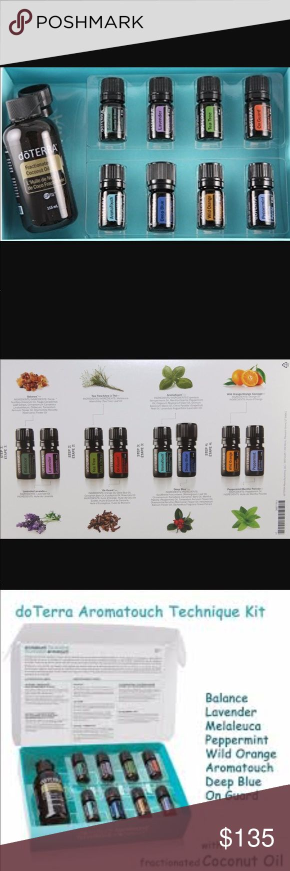 Brand New Doterra Touch Kit The dōTERRA AromaTouch Technique is a simple step-by-step method of applying therapeutic grade essential oils topically to produce a profound whole-body wellness experience. The benefits of the AromaTouch Technique include stress management, immune support, and autonomic balance. Kit includes 5 mL bottles of dōTERRA Balance Blend, Lavender, Melaleuca, On Guard® Protective Blend, AromaTouch® Massage Blend, Deep Blue® Soothing Blend, Wild Orange, Peppermint and…