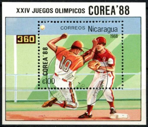 #Nicaragua 1988 sg#ms2954 baseball #olympic #games cto used m/s #a84724,  View more on the LINK: http://www.zeppy.io/product/gb/2/191558069599/