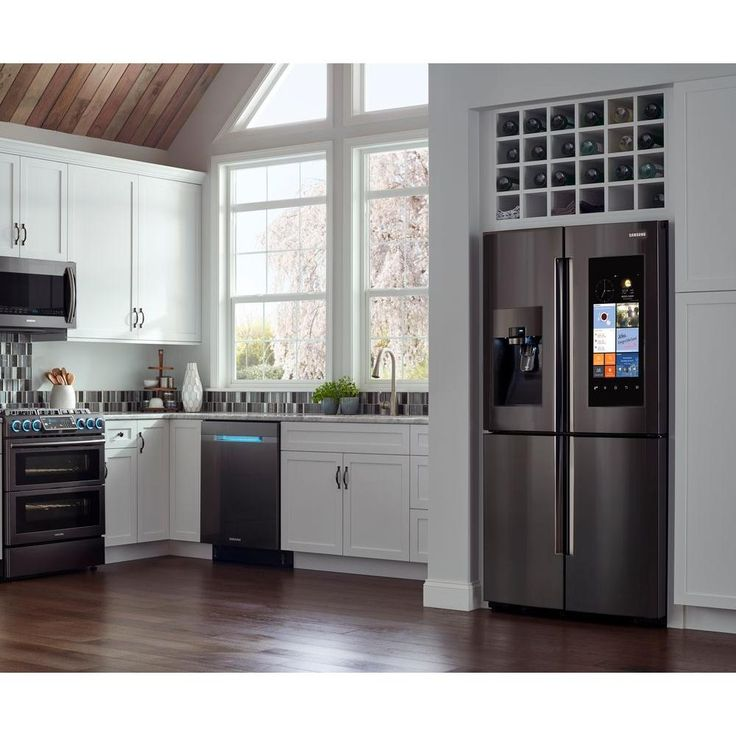Samsung 27.9 cu. ft. Family Hub 4-Door Flex French Door Refrigerator in Black Stainless Steel - RF28K9580SG - The Home Depot