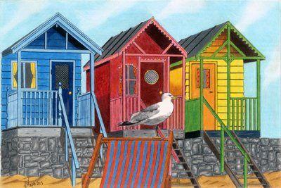 beach huts drawings - Google Search
