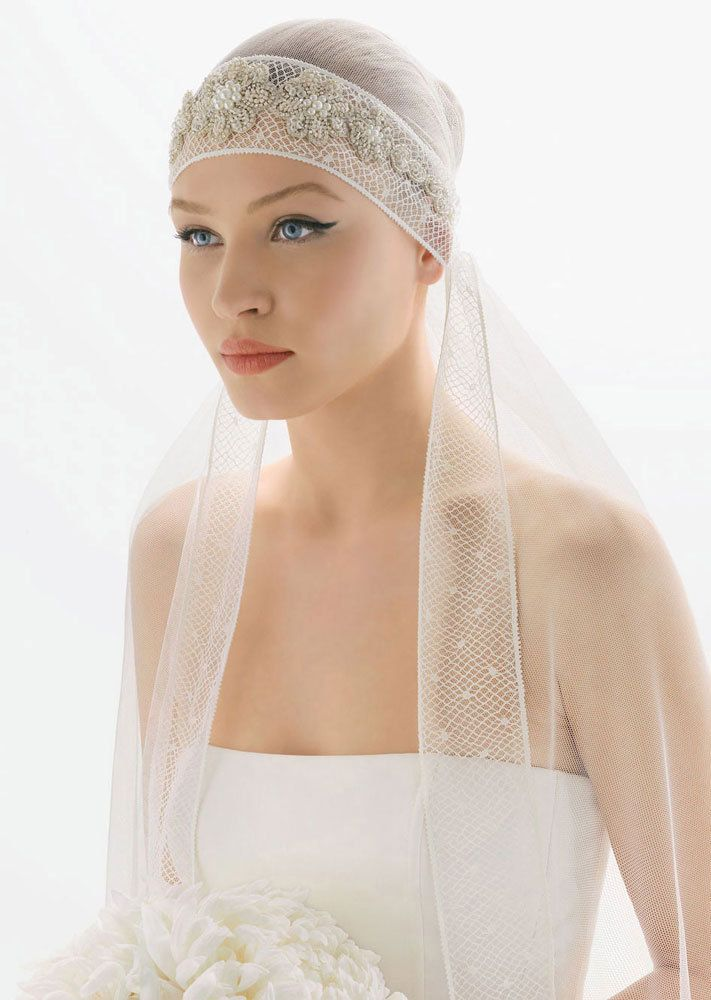 photo of Heavenly Bridal Veils by Rosa Clara 20s Inspired Wedding Downton Inspired Wedding