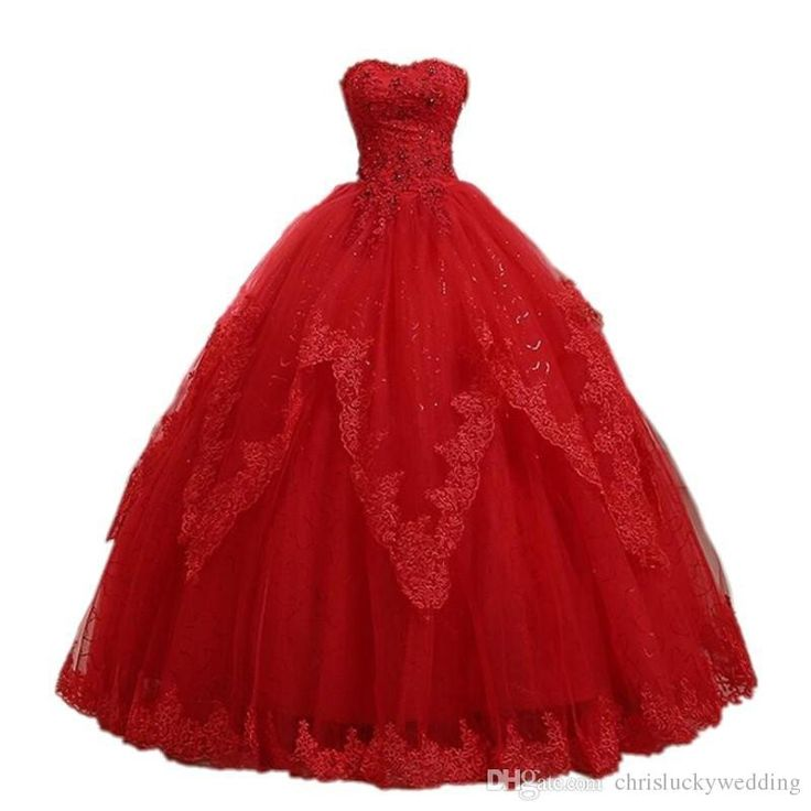 Red Sweetheart Lace Tulle Quinceanera Evening Dress 2016 Ball Gown Crystal Appliques Back Lace Up Prom Dresses Long Evening Dresses Maternity Evening Dresses Maxi From Chrisluckywedding, $112.57| Dhgate.Com