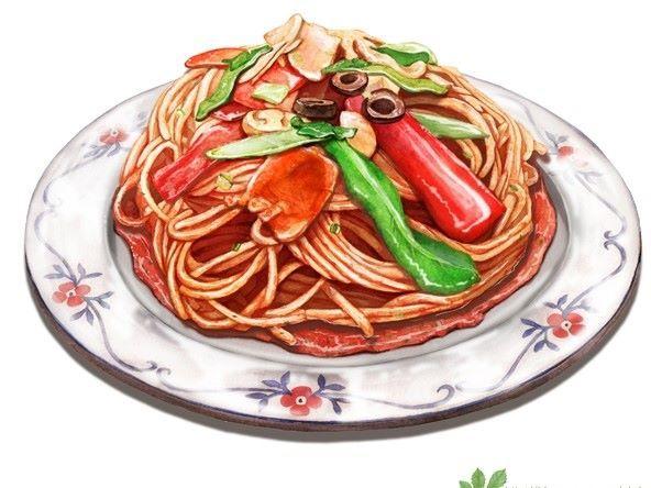 PASTA  food illustration•♥•.¸¸.•♥•✿