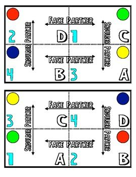 This document includes table grouping cards for groups of four students. This helps when grouping students and pairing for activities and quick sharing.