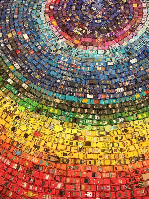 Car Atlas-Rainbow   Installation.w.300cm Assorted toy cars  by David T Waller, via Flickr